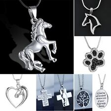 Handmade Jewellery Animal Silver Tone Horse Heart Dog Footprint Necklace Pendant
