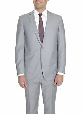 Raphael Slim Fit Solid Light Heather Gray Two Button Suit
