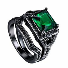 80's 70's Wedding Ring Jewelry Black Gold Filled Vintage Emerald Green Crystal