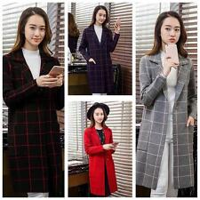 Fashion Women Plaid Long Sleeve Cardigan Knitted Sweater Coat Outwear New Q6U1