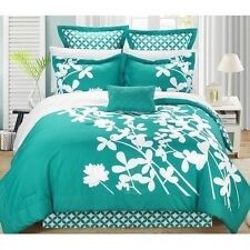 NEW Queen King Bed Turquoise White Floral Geometric 7 pc Comforter Set Elegant