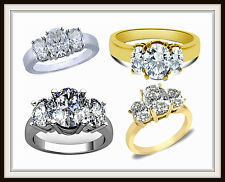 THREE STONE ENGAGEMENT RING SOLID GOLD OVAL SHAPE STONES UP TO 10.00 CT// EG011
