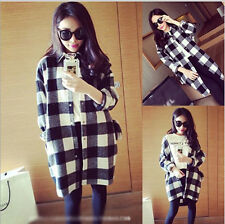 Fashion Women's Korean Style Long Sleeve Blouse Casual Plaid Shirt Tops One Size