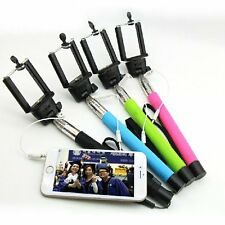 Extendable Selfie Stick Wired Phone Holder Remote Shutter Monopod iPhone Android