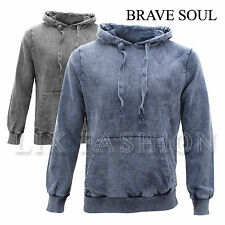 Mens Brave Soul Hoodie Hooded Top Gym Sweatshirt Long Sleeved Wash Out Snow Fade