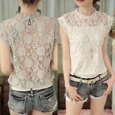 Women Vintage Elegant Lace Stand Collar Short Sleeve Solid Blouse T Shirt Tops