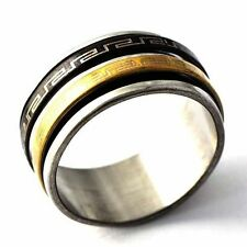 stainless steel Fashion solid mens ring black size 8-12 free shipping