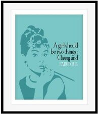 Audrey Hepburn Quote Poster (CLASSY AND FABULOUS) Inspirational Art Canvas Print