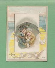 MOTHER & DAUGHTER SHARE UMBRELLA On Unused VICTORIAN NEW YEAR Greeting Card