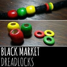 FREE HOOK Wooden Rasta Dreadlock Bead Ring Set Cuffs Dread Lock Bead Wood Colour