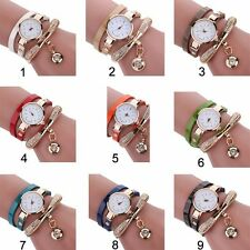 New Fashion  Women Girl Faux Leather Rhinestone Quartz Dress Wrist Watches 1PC
