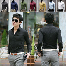 2015 Mens Fashion Casual Solid Slim Casual Fit Long Sleeve Dress Formal T-Shirts