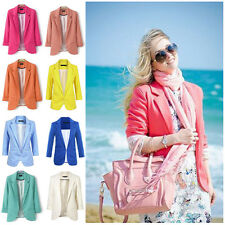 Casual Slim Solid Suit Blazer Jacket Coat Outwear Womens Fashion Candy Color Hot