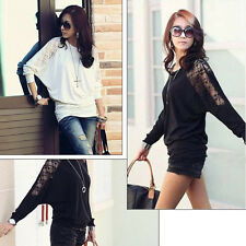 Women's New Batwing Dolman Lace T-Shirt Casual Long Sleeve Blouse Fashion Loose