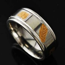 Korean Yellow gold Plated Cross Mens Stainless Steel promise Ring Size 8 9 10 11
