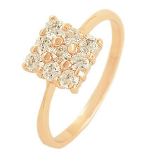 Noble 9K Rose Gold Plated Flawless Cubic Zirconia Womens Ring Size 6 7 8 9