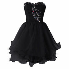 Short Organza Cocktail Dress Sweetheart Beaded Rhinestones Homecoming Gown W1671