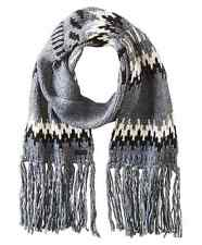 John Varvatos Star USA Men's Scarf Chevron Long Fringe Grey Knit $75 msrp NWT