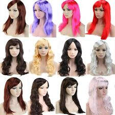19/20 inch Curly Straight Costume Wig Black Brown Blonde Grey Pink Red Full Wigs