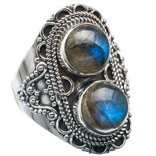 Pure 925 Solid Sterling Silver Genuine Labradorite Handmade Ring Size 4-13 US