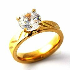 Vintage Womens Crystal Yellow Gold Filled Promise love Band Rings Size 6-9