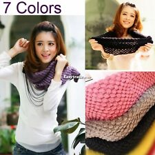 Girls Corn Knited Hood Neck Circle Cowl Wool Scarf Shawl Wrap Loop Knitting Bib