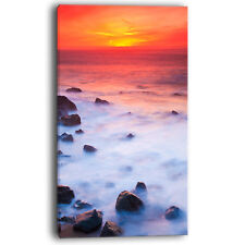 Design Art Bright Red Rocky Coast Sunset Photographic Print on Wrapped Canvas