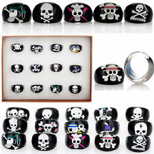 5/10/20/50pcs Wholesale Black Skull Animal Children Kids Resin Lucite Rings Hot