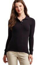 aeropostale womens long sleeve solid uniform piqu? polo shirt