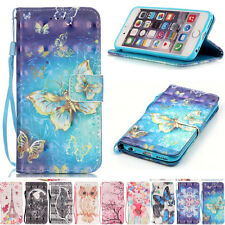 3D Leather Case Folio Stand Card Wallet Cover for Apple iphone Smartphone