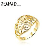 ROMAD Fashion 18K Gold Plated Hollow Ring Women Wedding Engagement Jewelry D0X3