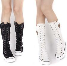 Womens Girl Sneaker Lace Up Zip Boot Knee High Flat Tall Boot Chic Lace Up Shoes