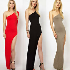 Sexy Women Casual Party Slit Dresses One Off Shoulder Cocktail Long Maxi Dress