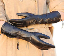 New Women's Long Genuine Kid Leather Evening Party Gloves With Zip Winter Warm