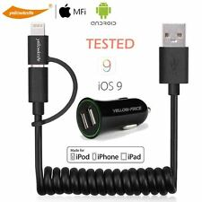 Fast Charging 2-Port Car Charger Lightning+Micro USB Data Cable Android iPhone