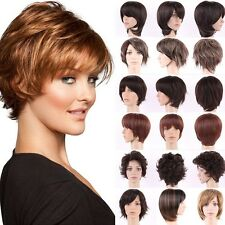 US Vogue Pixie Short Wig Curly Straight Wave Brown Blonde Synthetic Full Wigs G6