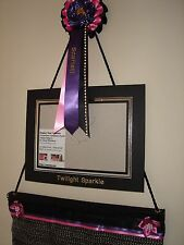 Rosette display holder  wall hanger with personalised rosette and photo frame