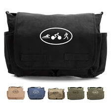 Triathlon Logo Swim Bike Run Cycling Heavyweight Canvas Messenger Shoulder Bag