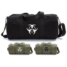 Army Force Gear Biohazard Symbol Canvas Military Duffle Bag Gym Travel Duffel