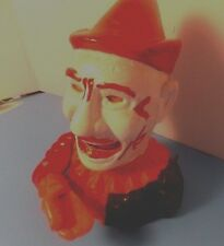 VINTAGE ~ Humpty Dumpty Clown Cast Iron Mechanical Coin Bank ~ WORKS GREAT