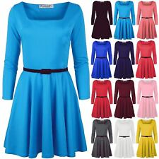 Womens Belted Flared Square Neck Swing Franki  Top Ladies Skater Dress Plus Size