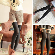 WOMENS GIRLS SEXY GIPSY MOCK RIBBED TATTOO SPLICING OVER KNEE TIGHTS PANTYHOSE