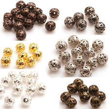 200Pcs Silver/Gold/Copper/Bronze Metal Hollow Flower Ball Spacer Beads 4/6/8mm