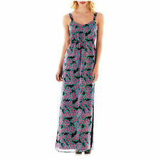 NWT I Heart Ronson Smocked Maxi Lined Dress Black & Pink Floral MSRP $66 XS M L