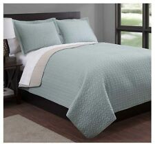 NEW Twin Full Queen King Coverlet Quilt 3 pc Set Reversible Sage Camel Shams WOW