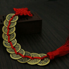 Chinese Feng Shui Protection Fortune Lucky Charm Red Tassel String Tied Coins SE