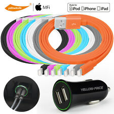 Car Charger Adaptor Bullet Dual USB/ Lightning Apple iPhone Charging USB Cable