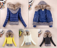Winter Warm Women's Down Cotton Jacket Short Slim Hooded Fur Collar Coat Outwear