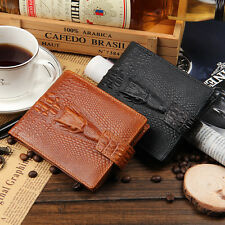 Men's Casual Zipper-closure Short Horizontal Trifold Leather Wallet Men Purse