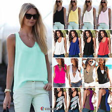 Plus Size Womens Summer Chiffon Sleeveless Tank Tops T-Shirt Vest Shirt Blouses